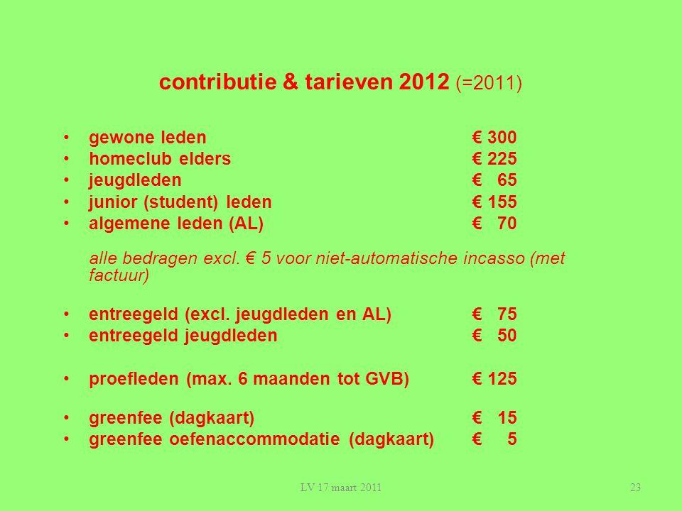 23 contributie & tarieven 2012 (=2011) •gewone leden€ 300 •homeclub elders€ 225 •jeugdleden€ 65 •junior (student) leden€ 155 •algemene leden (AL)€ 70 alle bedragen excl.