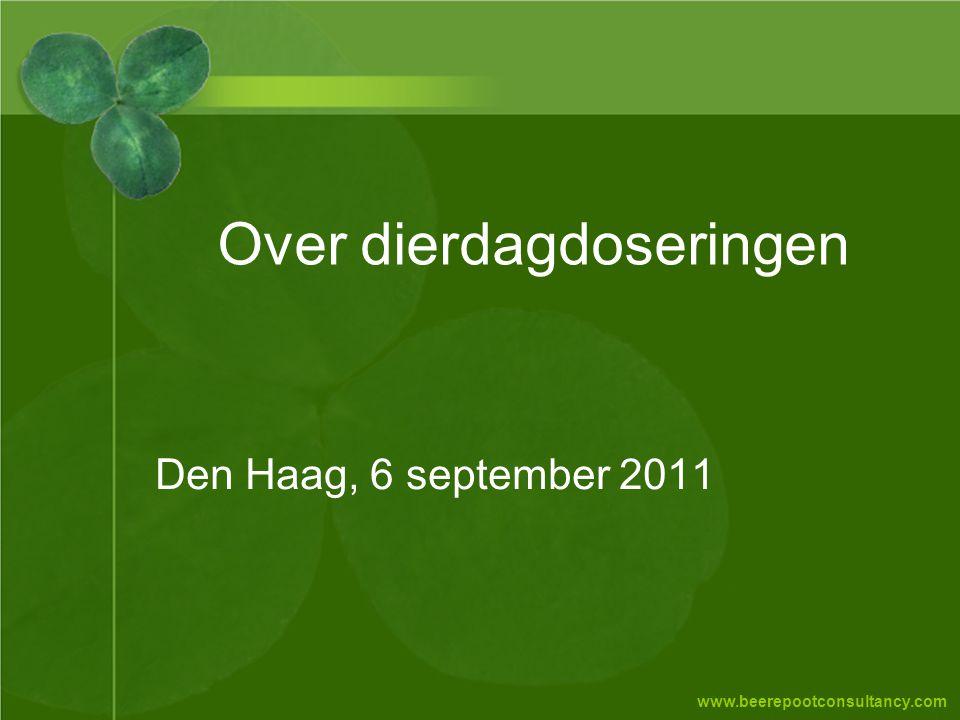 www.beerepootconsultancy.com Over dierdagdoseringen Den Haag, 6 september 2011