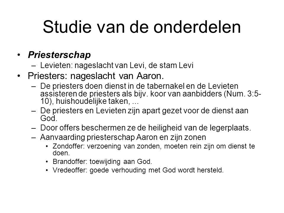 Studie van de onderdelen •Priesterschap –Levieten: nageslacht van Levi, de stam Levi •Priesters: nageslacht van Aaron.