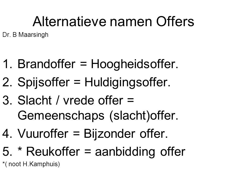 Alternatieve namen Offers Dr.B Maarsingh 1.Brandoffer = Hoogheidsoffer.