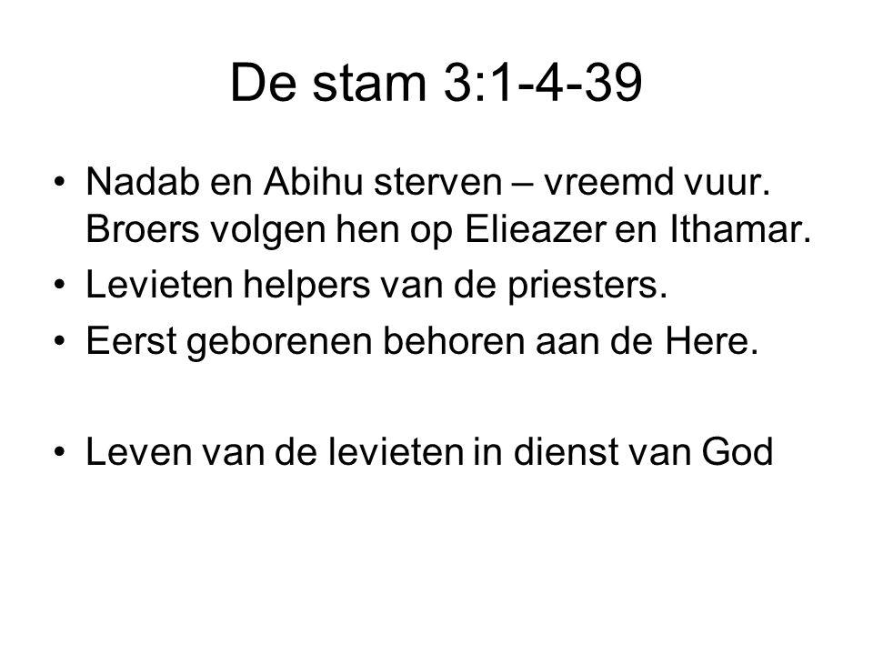De stam 3:1-4-39 •Nadab en Abihu sterven – vreemd vuur.