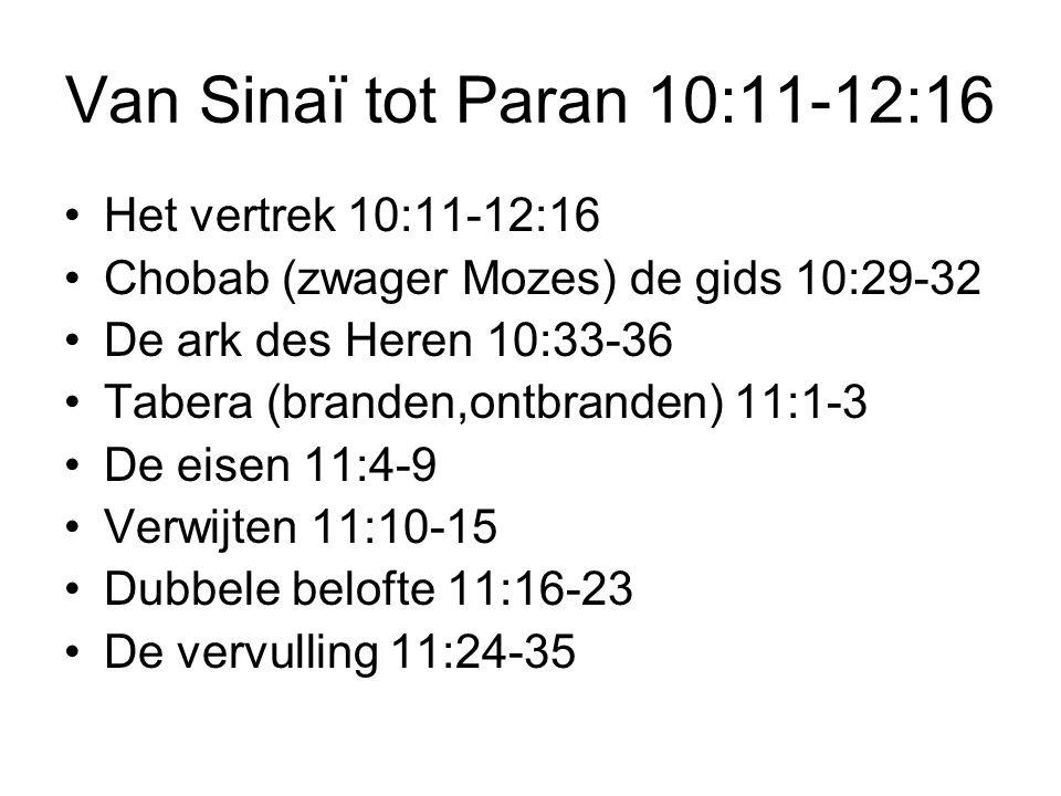 Van Sinaï tot Paran 10:11-12:16 •Het vertrek 10:11-12:16 •Chobab (zwager Mozes) de gids 10:29-32 •De ark des Heren 10:33-36 •Tabera (branden,ontbranden) 11:1-3 •De eisen 11:4-9 •Verwijten 11:10-15 •Dubbele belofte 11:16-23 •De vervulling 11:24-35