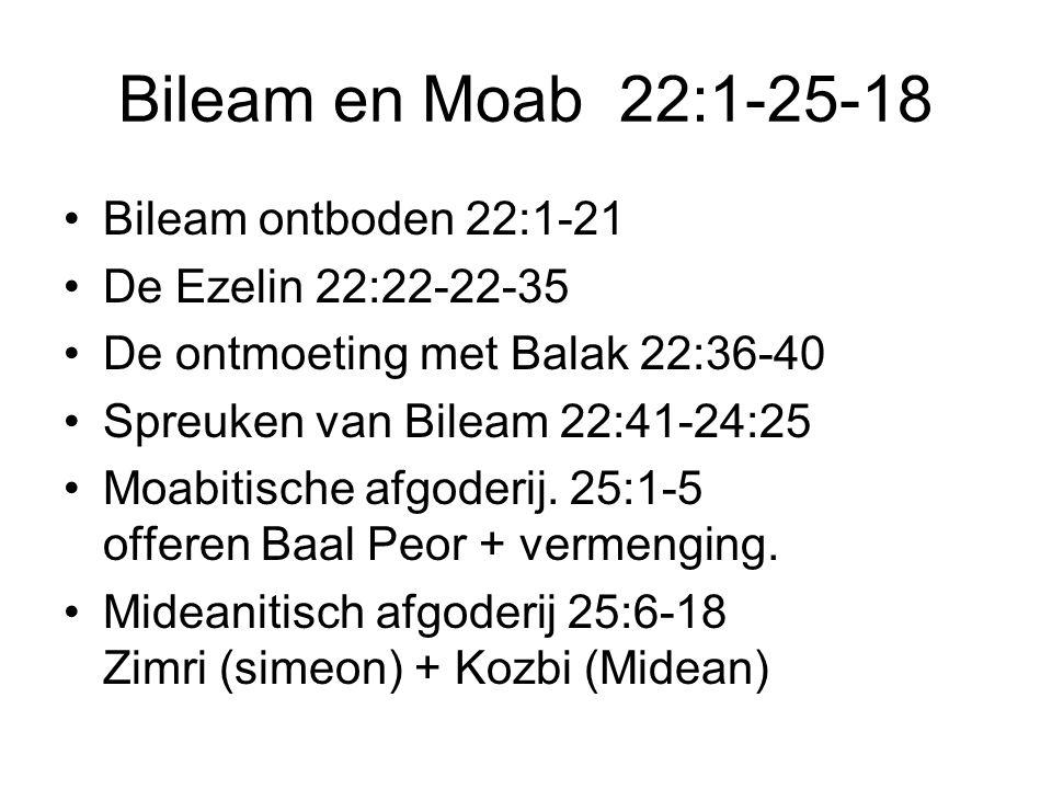 Bileam en Moab 22:1-25-18 •Bileam ontboden 22:1-21 •De Ezelin 22:22-22-35 •De ontmoeting met Balak 22:36-40 •Spreuken van Bileam 22:41-24:25 •Moabitische afgoderij.