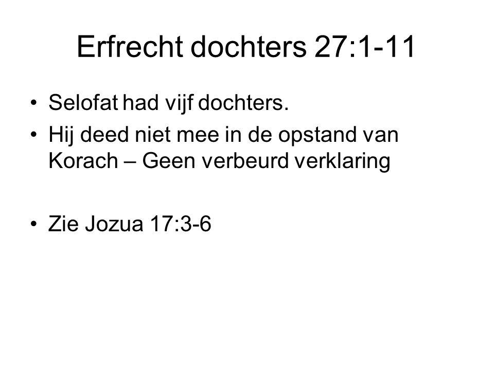 Erfrecht dochters 27:1-11 •Selofat had vijf dochters.