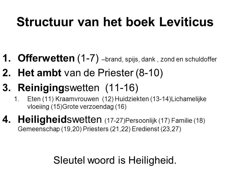Structuur van het boek Leviticus 1.Offerwetten (1-7) –brand, spijs, dank, zond en schuldoffer 2.Het ambt van de Priester (8-10) 3.Reinigingswetten (11-16) 1.Eten (11) Kraamvrouwen (12) Huidziekten (13-14)Lichamelijke vloeiing (15)Grote verzoendag (16) 4.Heiligheidswetten (17-27)Persoonlijk (17) Familie (18) Gemeenschap (19,20) Priesters (21,22) Eredienst (23,27) Sleutel woord is Heiligheid.