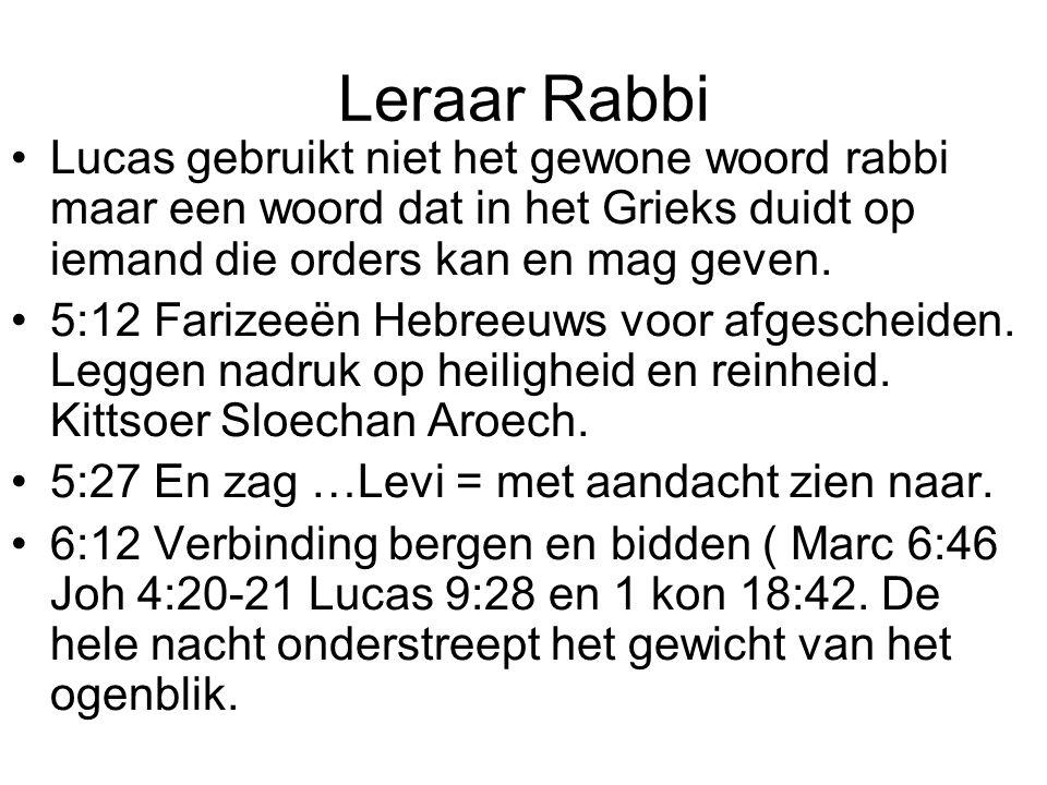 Leraar Rabbi •Lucas gebruikt niet het gewone woord rabbi maar een woord dat in het Grieks duidt op iemand die orders kan en mag geven.