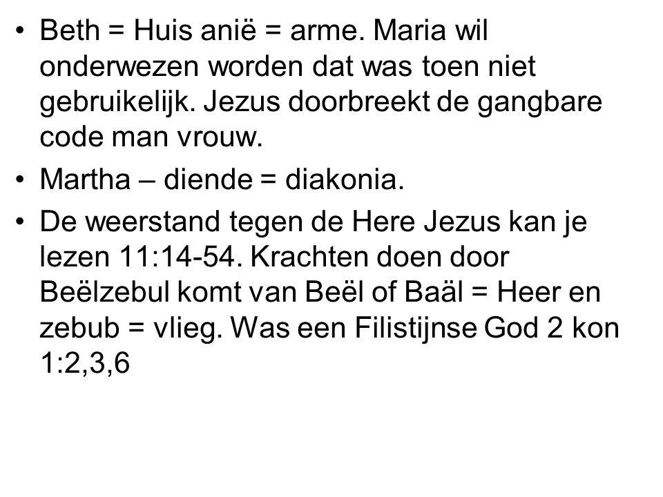 •Beth = Huis anië = arme.Maria wil onderwezen worden dat was toen niet gebruikelijk.
