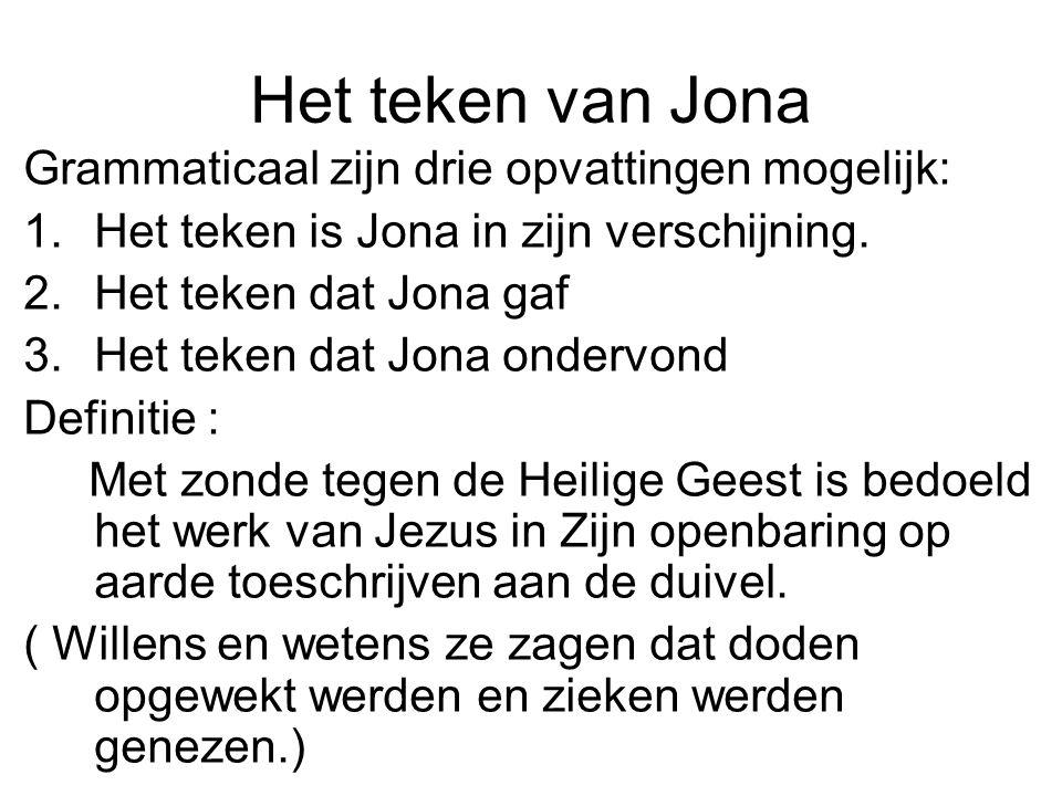Het teken van Jona Grammaticaal zijn drie opvattingen mogelijk: 1.Het teken is Jona in zijn verschijning.
