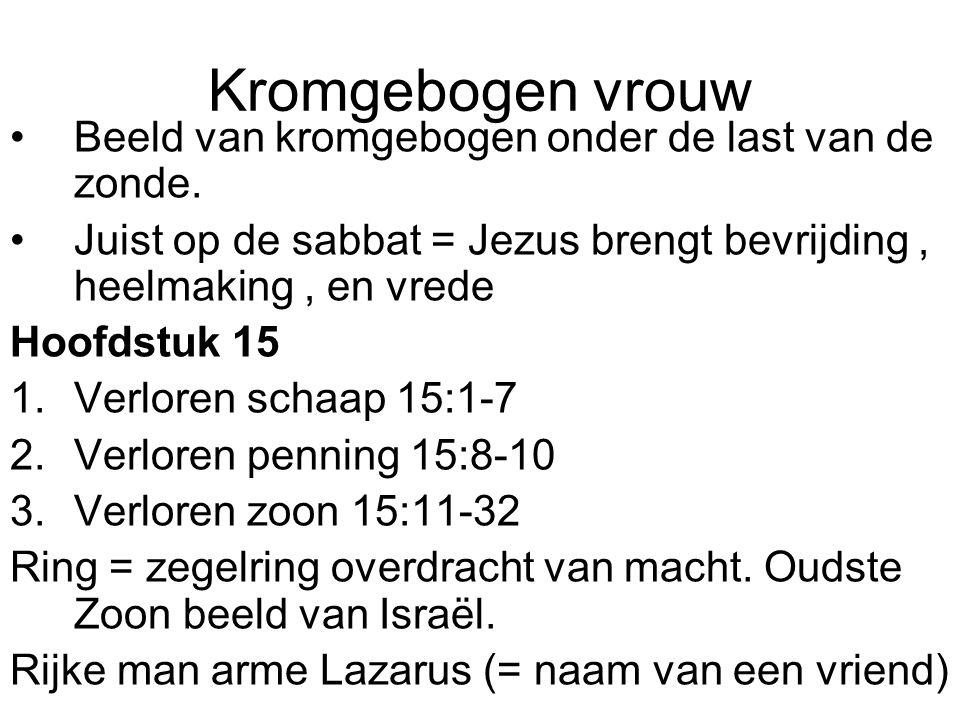 Kromgebogen vrouw •Beeld van kromgebogen onder de last van de zonde.