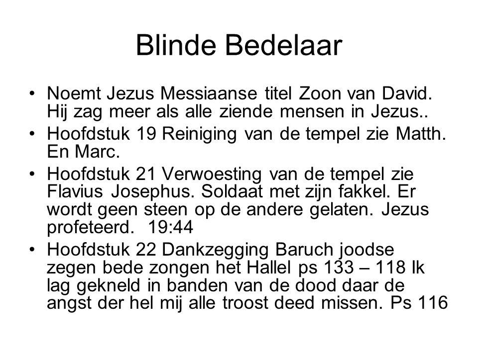 Blinde Bedelaar •Noemt Jezus Messiaanse titel Zoon van David.
