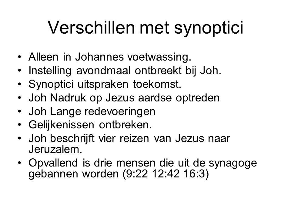 Verschillen met synoptici •Alleen in Johannes voetwassing.