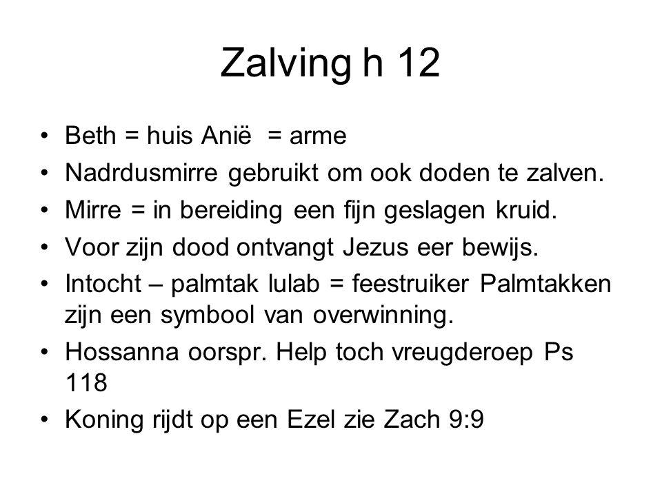 Zalving h 12 •Beth = huis Anië = arme •Nadrdusmirre gebruikt om ook doden te zalven.