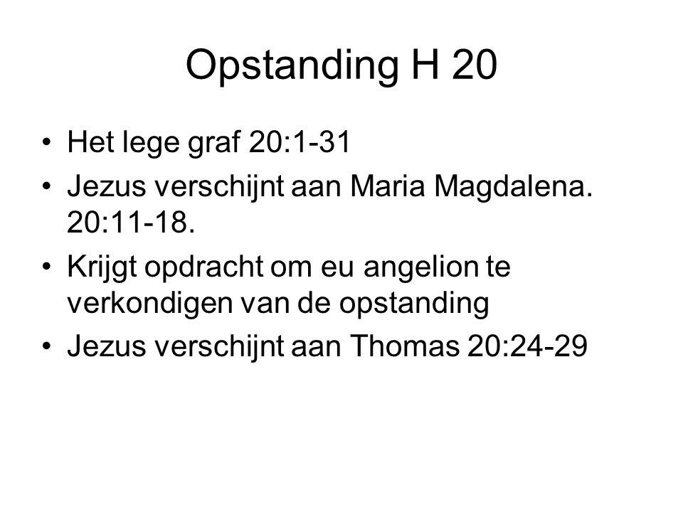 Opstanding H 20 •Het lege graf 20:1-31 •Jezus verschijnt aan Maria Magdalena.