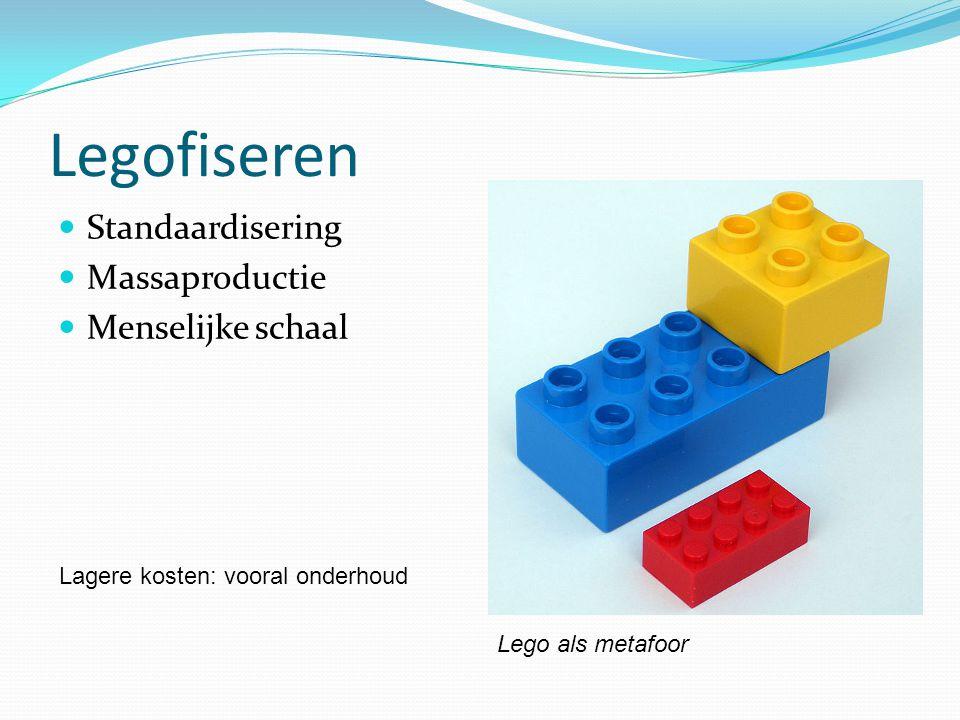 Legofiseren  Standaardisering  Massaproductie  Menselijke schaal Lego als metafoor Lagere kosten: vooral onderhoud