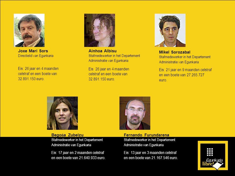 Joxe Mari Sors Directielid van Egunkaria Eis: 26 jaar en 4 maanden celstraf en een boete van 32.891.150 euro.