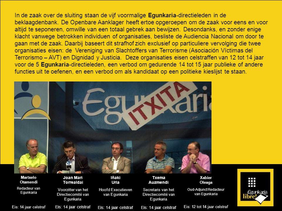 In de zaak over de sluiting staan de vijf voormalige Egunkaria-directieleden in de beklaagdenbank.