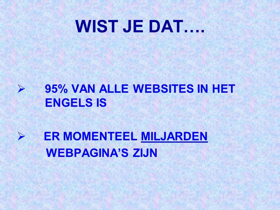 WIST JE DAT….  95% VAN ALLE WEBSITES IN HET ENGELS IS  ER MOMENTEEL MILJARDEN WEBPAGINA'S ZIJN