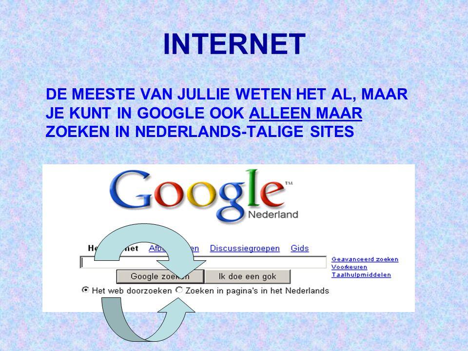 INTERNET DE MEESTE VAN JULLIE WETEN HET AL, MAAR JE KUNT IN GOOGLE OOK ALLEEN MAAR ZOEKEN IN NEDERLANDS-TALIGE SITES