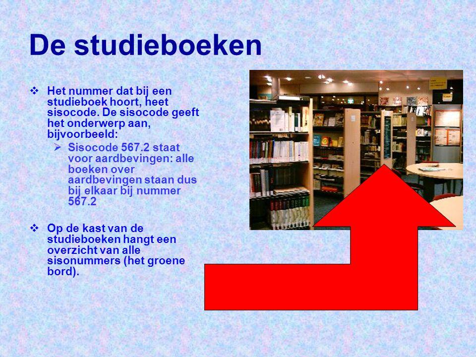 De studieboeken  Het nummer dat bij een studieboek hoort, heet sisocode. De sisocode geeft het onderwerp aan, bijvoorbeeld:  Sisocode 567.2 staat vo