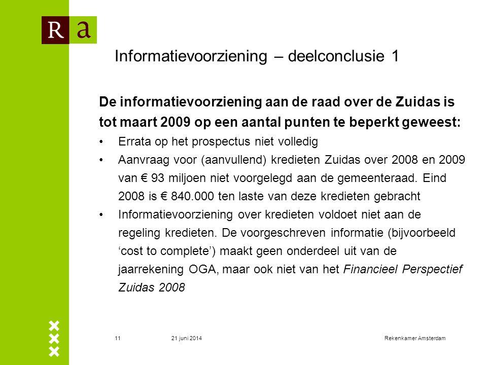 21 juni 2014Rekenkamer Amsterdam11 Informatievoorziening – deelconclusie 1 De informatievoorziening aan de raad over de Zuidas is tot maart 2009 op ee