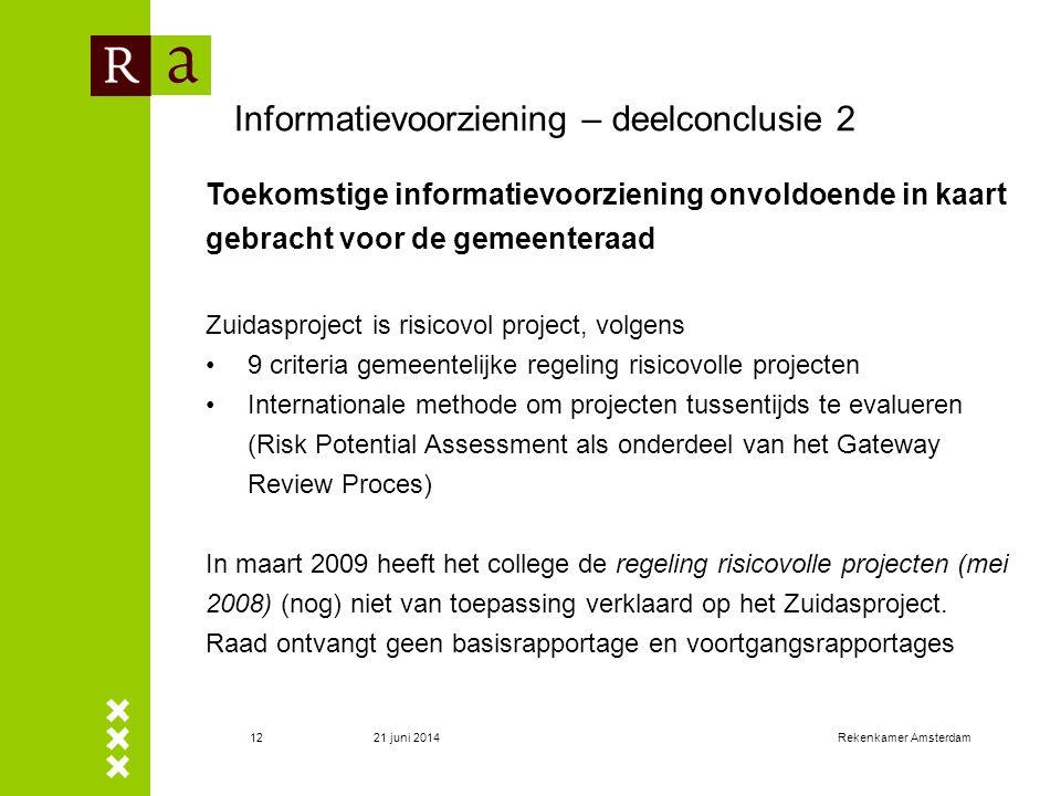 21 juni 2014Rekenkamer Amsterdam13 Informatievoorziening – deelconclusie 2 (2) Inhoud basisrapportage – 7 paragrafenInhoud voortgangsrapportages – 4 paragrafen 1.Doelstelling(en), die SMART geformuleerd moeten worden.