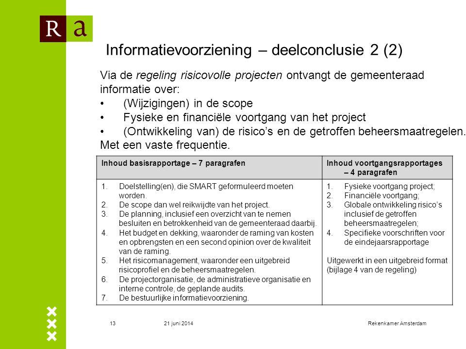 21 juni 2014Rekenkamer Amsterdam13 Informatievoorziening – deelconclusie 2 (2) Inhoud basisrapportage – 7 paragrafenInhoud voortgangsrapportages – 4 p