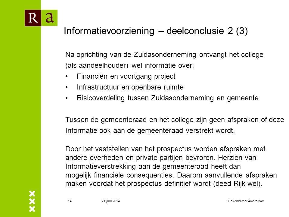 21 juni 2014Rekenkamer Amsterdam14 Informatievoorziening – deelconclusie 2 (3) Na oprichting van de Zuidasonderneming ontvangt het college (als aandee