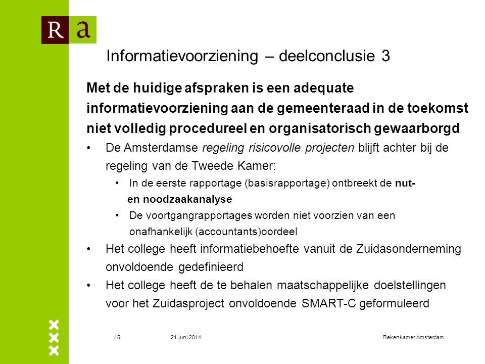 21 juni 2014Rekenkamer Amsterdam15 Informatievoorziening – deelconclusie 3 Met de huidige afspraken is een adequate informatievoorziening aan de gemee