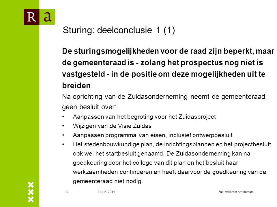 21 juni 2014Rekenkamer Amsterdam18 Sturing: deelconclusie 1 (2) Oprichting Zuidasonderneming tast het publiekrechtelijke instrumentarium van de gemeente niet aan.