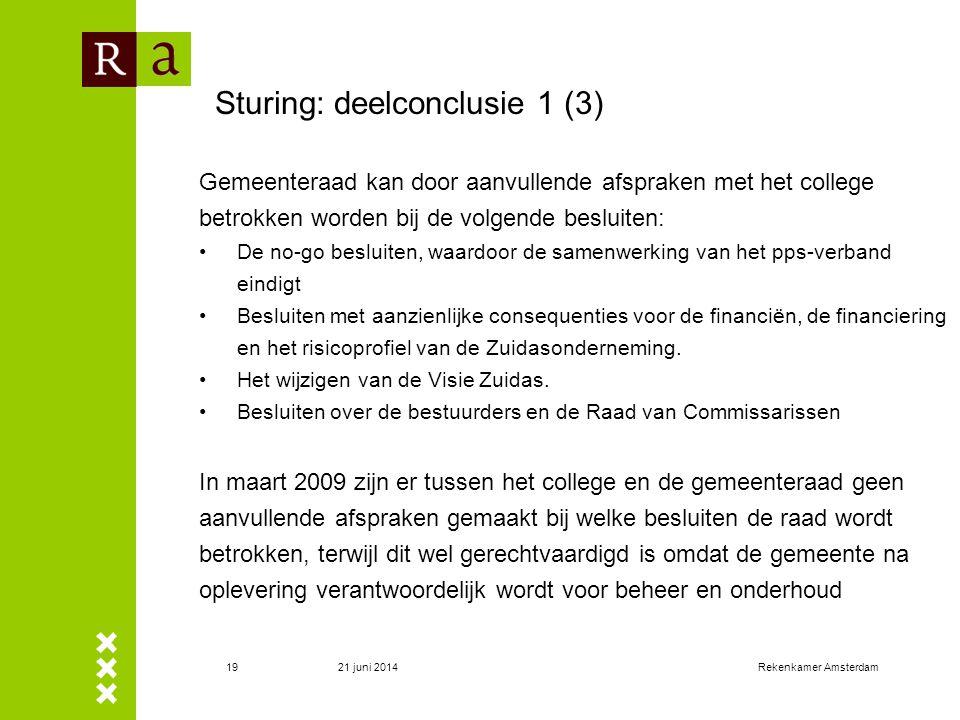 21 juni 2014Rekenkamer Amsterdam20 Sturing: deelconclusie 2 Het college heeft de toekomstig te nemen besluiten door de gemeenteraad nog niet in de tijd uiteengezet.