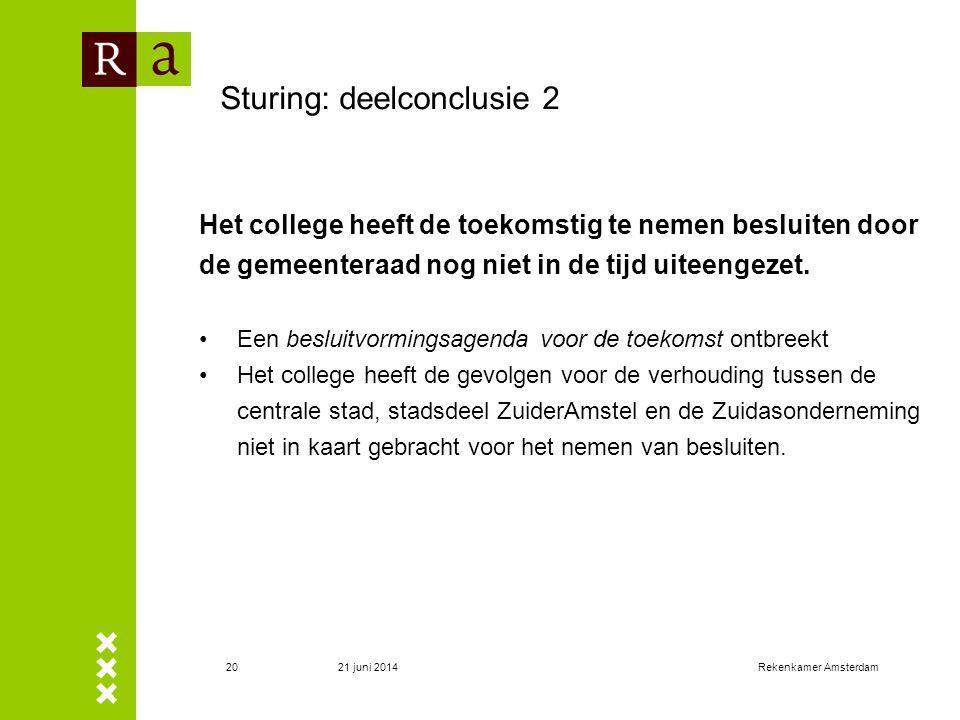 21 juni 2014Rekenkamer Amsterdam20 Sturing: deelconclusie 2 Het college heeft de toekomstig te nemen besluiten door de gemeenteraad nog niet in de tij
