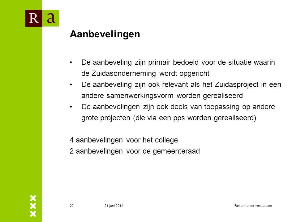 21 juni 2014Rekenkamer Amsterdam23 Aanbevelingen voor het college (1) 1.Pas de regeling risicovolle projecten toe op het Zuidasproject.