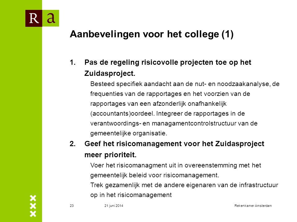 21 juni 2014Rekenkamer Amsterdam23 Aanbevelingen voor het college (1) 1.Pas de regeling risicovolle projecten toe op het Zuidasproject. Besteed specif