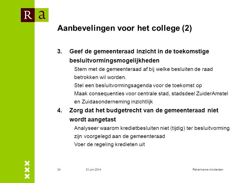 21 juni 2014Rekenkamer Amsterdam25 Aanbevelingen voor de gemeenteraad 1.Bepaal bij welke collegebesluiten de gemeenteraad betrokken wil worden en maak daarover afspraken met het college 2.Neem een besluit over het al dan niet van toepassing verklaren van het gemeentelijke integriteit- en beloningsbeleid voor de Zuidasonderneming.