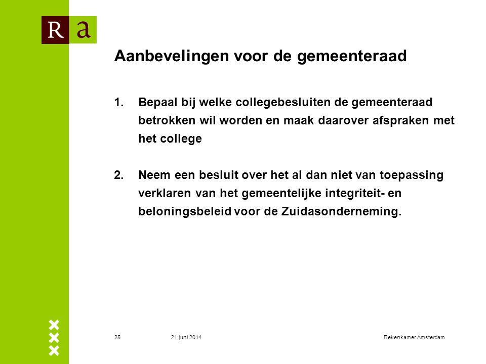 21 juni 2014Rekenkamer Amsterdam26 Bestuurlijke reactie en nawoord (1) • College deelt de hoofdconclusie van de rekenkamer • College deelt de conclusie niet dat de informatievoorziening aan de gemeenteraad over Zuidas tot maart 2009 op een aantal punten te beperkt is geweest •Gelet op de recente beëindiging van de veiling (maart 2009) vindt het college een aantal conclusies minder relevant •Het college neemt 2 van de 4 aanbevelingen (nummer 3 en 4) onverkort over.