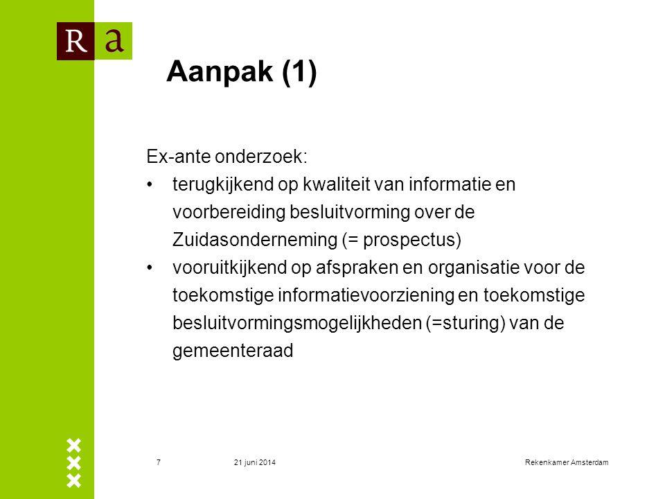 21 juni 2014Rekenkamer Amsterdam7 Aanpak (1) Ex-ante onderzoek: •terugkijkend op kwaliteit van informatie en voorbereiding besluitvorming over de Zuid