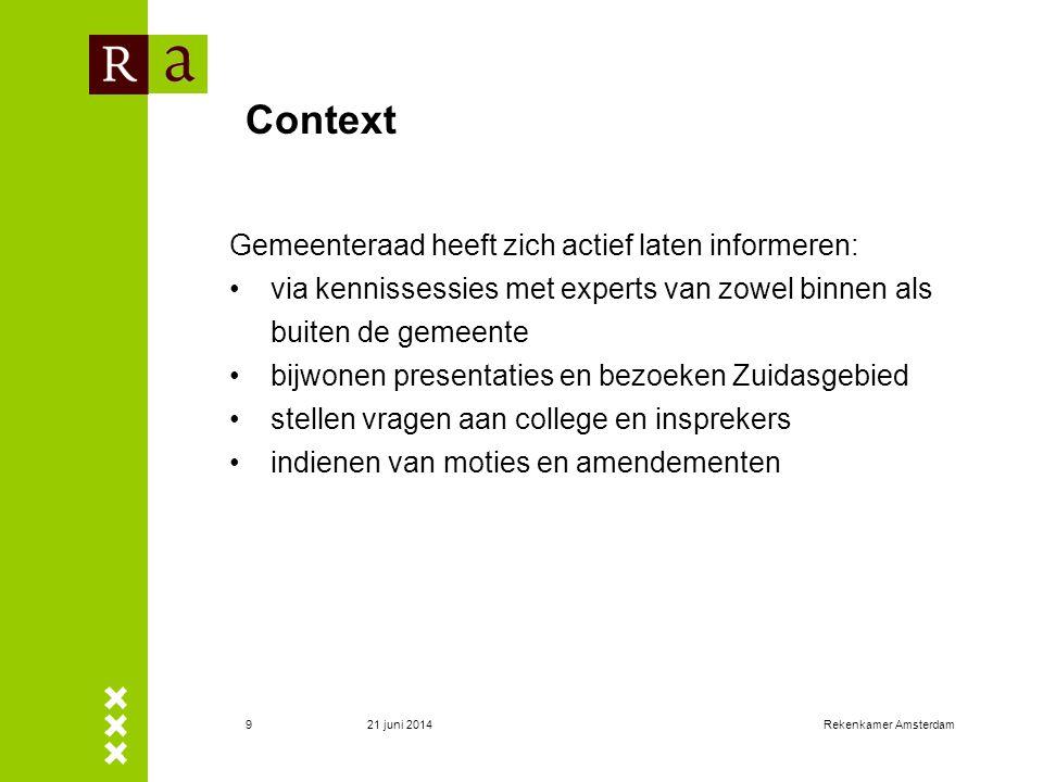 21 juni 2014Rekenkamer Amsterdam9 Context Gemeenteraad heeft zich actief laten informeren: •via kennissessies met experts van zowel binnen als buiten