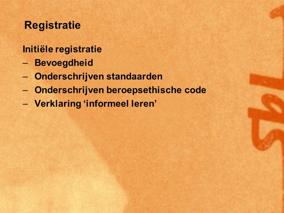 Registratie Initiële registratie –Bevoegdheid –Onderschrijven standaarden –Onderschrijven beroepsethische code –Verklaring 'informeel leren' Beroepsregistratie –Initieel ingeschreven –Minimaal 0,2 fte aanstelling –Voldoen aan professionaliseringscriteria