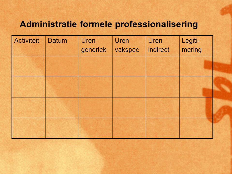 Administratie formele professionalisering ActiviteitDatumUren generiek Uren vakspec Uren indirect Legiti- mering