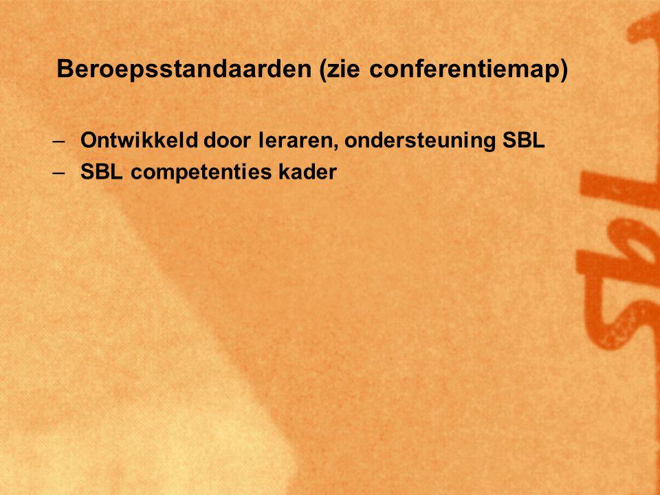 Beroepsstandaarden (zie conferentiemap) –Ontwikkeld door leraren, ondersteuning SBL –SBL competenties kader –Aanvulling op startbekwaamheid