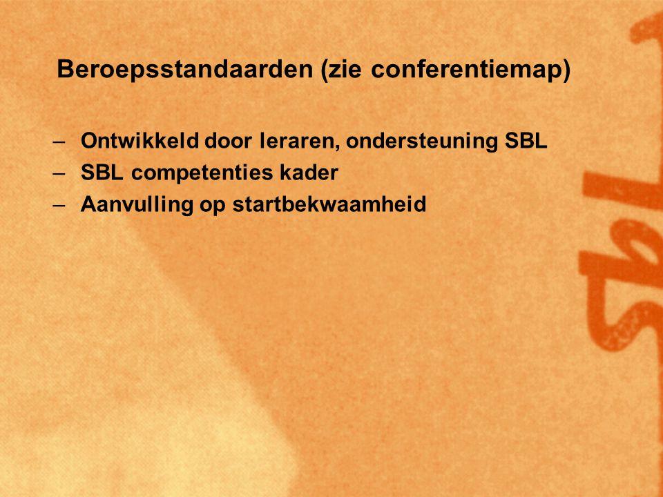 Beroepsstandaarden (zie conferentiemap) –Ontwikkeld door leraren, ondersteuning SBL –SBL competenties kader –Aanvulling op startbekwaamheid –Generiek en vakdomeinspecifiek