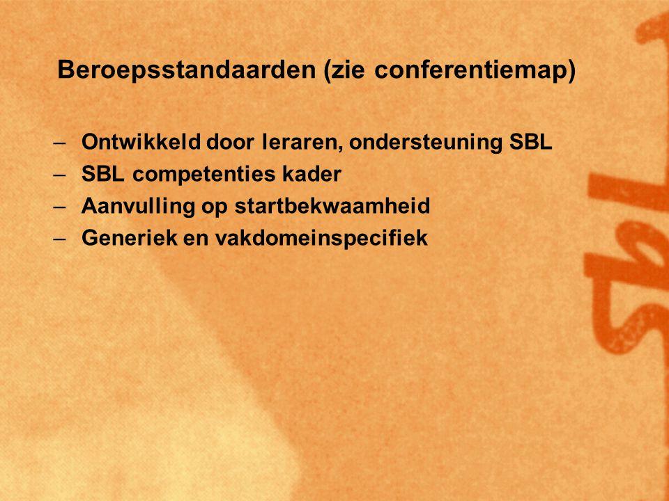 Beroepsstandaarden (zie conferentiemap) –Ontwikkeld door leraren, ondersteuning SBL –SBL competenties kader –Aanvulling op startbekwaamheid –Generiek en vakdomeinspecifiek –Vakdomeinspecifiek geïnspireerd door VO