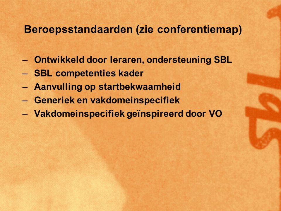 Beroepsstandaarden (zie conferentiemap) –Ontwikkeld door leraren, ondersteuning SBL –SBL competenties kader –Aanvulling op startbekwaamheid –Generiek en vakdomeinspecifiek –Vakdomeinspecifiek geïnspireerd door VO –Prioriteit voor rekenen en taal