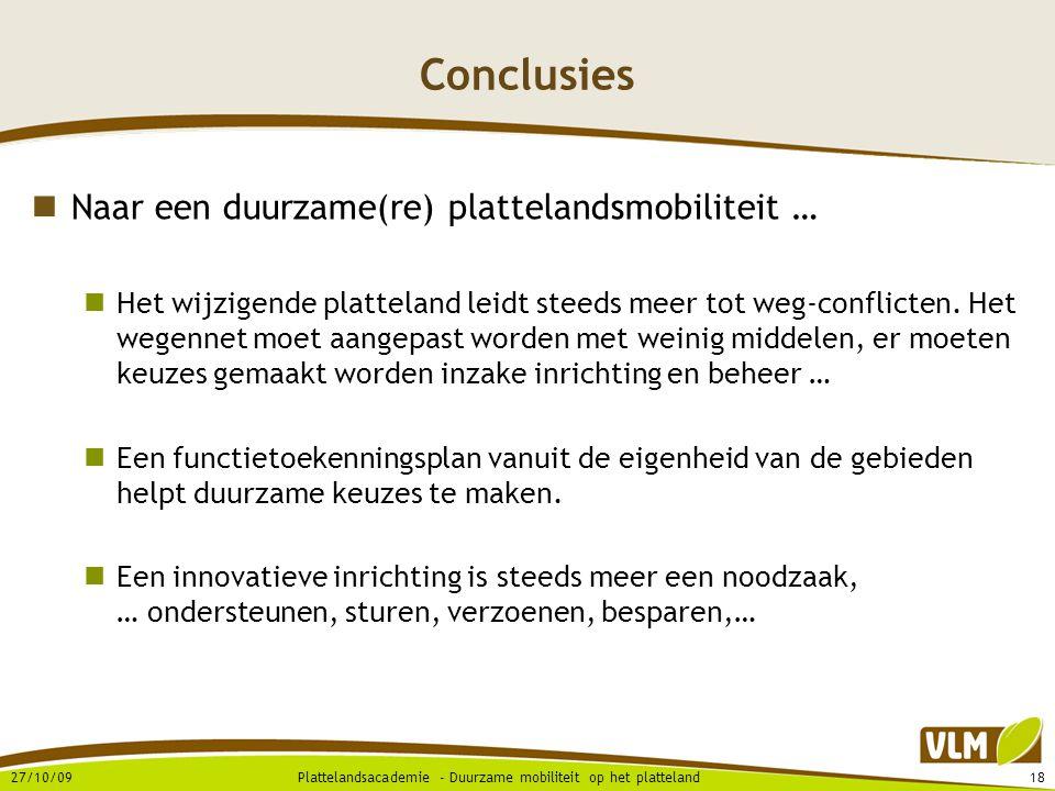 27/10/0918Plattelandsacademie - Duurzame mobiliteit op het platteland Conclusies  Naar een duurzame(re) plattelandsmobiliteit …  Het wijzigende platteland leidt steeds meer tot weg-conflicten.