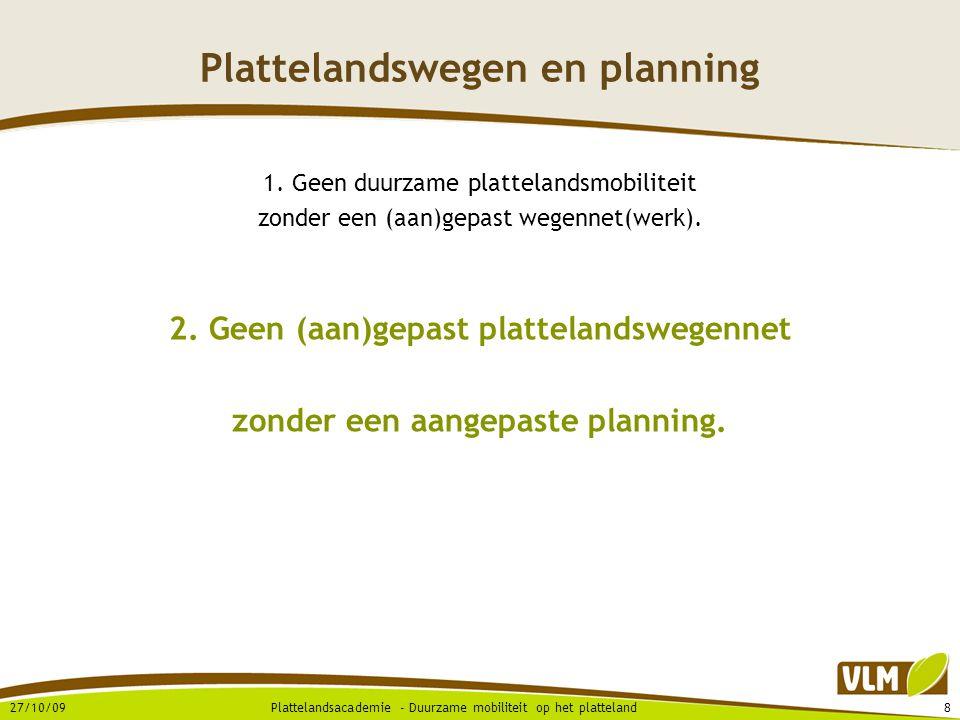 27/10/0919Plattelandsacademie - Duurzame mobiliteit op het platteland Conclusies  Naar een duurzame(re) plattelandsmobiliteit …  Ondersteuning plattelandsgemeenten .