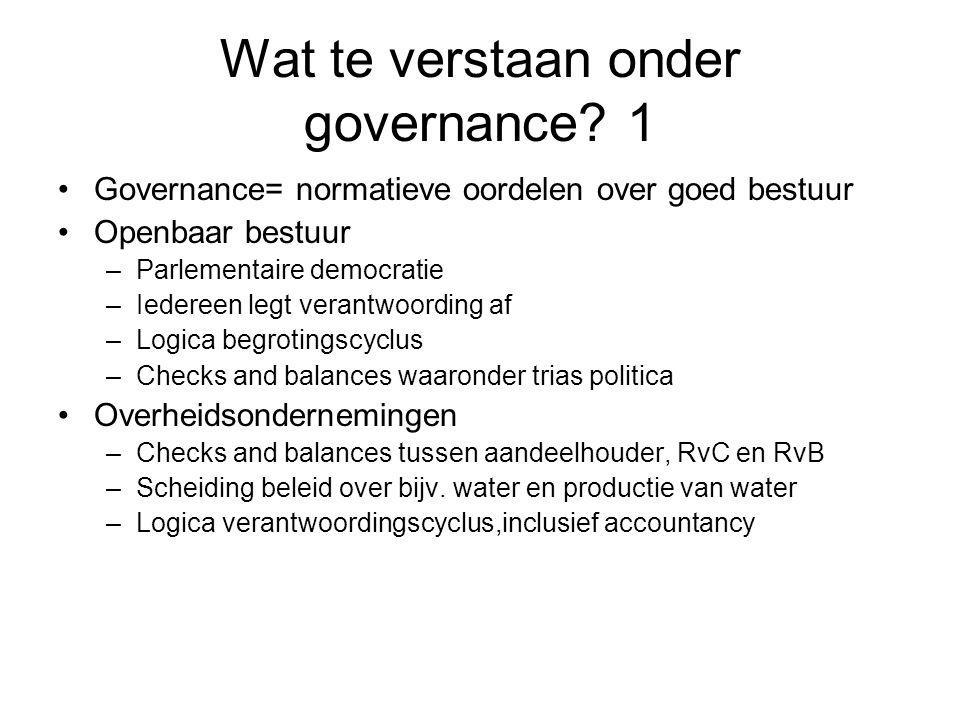 Wat te verstaan onder governance.