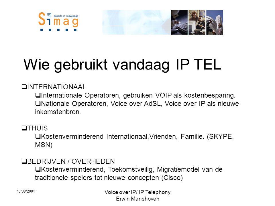 13/09/2004 Voice over IP/ IP Telephony Erwin Manshoven Wie gebruikt vandaag IP TEL  INTERNATIONAAL  Internationale Operatoren, gebruiken VOIP als kostenbesparing.