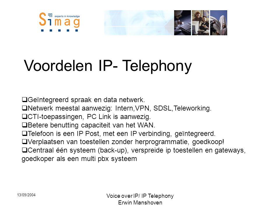 13/09/2004 Voice over IP/ IP Telephony Erwin Manshoven Voordelen IP- Telephony  Geïntegreerd spraak en data netwerk.