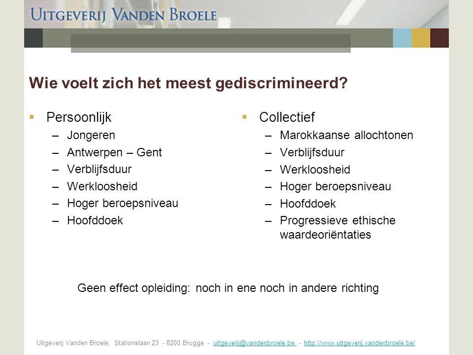 Uitgeverij Vanden Broele, Stationslaan 23 - 8200 Brugge - uitgeverij@vandenbroele.be - http://www.uitgeverij.vandenbroele.be/uitgeverij@vandenbroele.be http://www.uitgeverij.vandenbroele.be/ Wie voelt zich het meest gediscrimineerd.