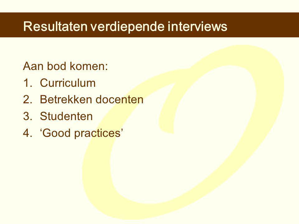 Resultaten verdiepende interviews Aan bod komen: 1.Curriculum 2.Betrekken docenten 3.Studenten 4.'Good practices'